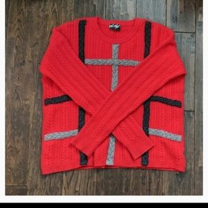 Lord and Taylor Red Cashmere Soft Cabled Sweater L